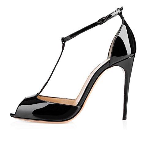 EDEFS Damen Sandalen High Heels 10cm Stiletto mit Riemchen T-Spangen Peep Toe Sommer Schuhe Schwarz Größe EU38