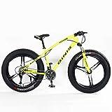 Xiaoyue Teens Mountain Bikes, 21-Gang 24 Zoll Fat Tire Fahrrad, High-Carbon Stahlrahmen Hardtail Mountainbike mit Doppelscheibenbremse, Gelb, Spoke lalay (Color : Yellow, Size : 3 Spoke)
