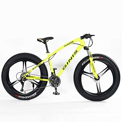 CWZY Teens Mountain Bikes, 21-Speed 24 Inch Fat Tire Bicycle, High-carbon Steel Frame Hardtail Mountain Bike with Dual Disc Brake,Yellow,3 Spoke