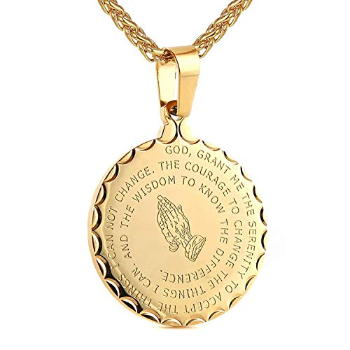 Bible Verse Prayer Necklace Free Chain Christian Jewelry Stainless Steel Praying Hands Coin Medal Pendant (Gold)