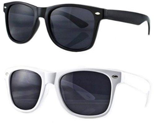 PURECITY Lot de 2 Paires de Lunettes de Soleil Style Retro Vintage 80's Geek Nerd - Monture Coloris Noir / Blanc - Verre Noir - Tendance