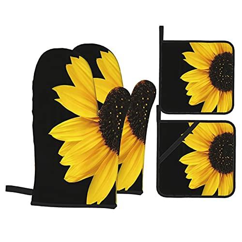 Juego de 4 Manoplas para Horno y Soportes para ollas,Girasol Autumal Wild Flower Half Zoom Up Sunflower Nature Arte Negro y Amarillo,Guantes BBQ con Forro Acolchado,