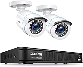 ZOSI H.265+ Full 1080p Home Security Camera System,5MP Lite CCTV DVR Recorder 4 Channel and 2 x 2MP 1080P Weatherproof Surveillance Bullet Camera Outdoor Indoor with 80ft Night Vision (No Hard Drive)