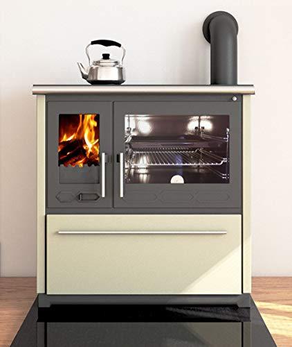 EEK A+ Küchenofen Holzherd Plamen 850 creme, rechte Version - 8 kW Dauerbrandherd