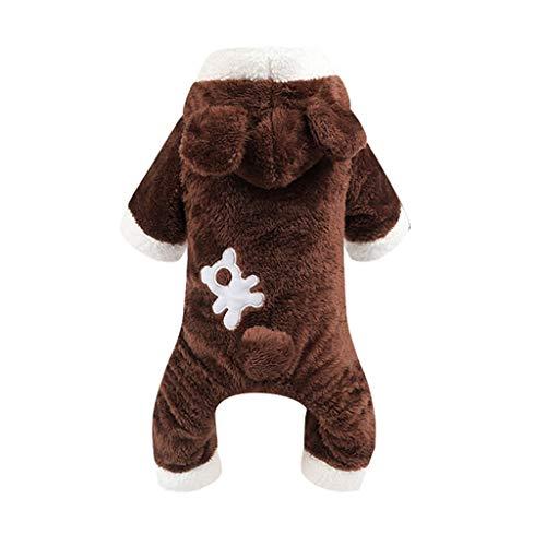 WALNUTA Mono de Perro cálido de Invierno con Forma de Oso Animal Ropa para Perros de Lana Mono para Mascotas Abrigo de Babero Disfraz de Perro Cachorro