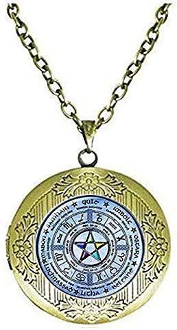 Wiccan Pentagram Locket Necklace Pentagram Jewelry Wicca Jewelry Wicca Pagan Religion Wheel Celtic Wheel Zodiac Elemental Pentacle Gift