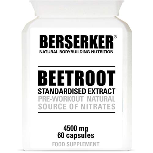 Berserker Beetroot Extract 60 Capsules (V). Pre-Workout Natural Supplement for Enhanced Performance and Recovery