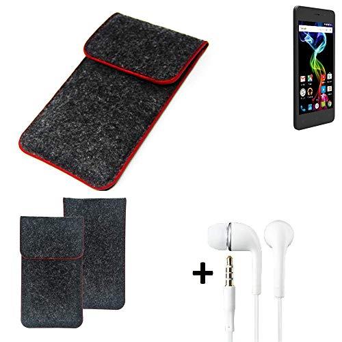K-S-Trade® Handy Schutz Hülle Für Archos 45d Platinum Schutzhülle Handyhülle Filztasche Pouch Tasche Case Sleeve Filzhülle Dunkelgrau Roter Rand + Kopfhörer