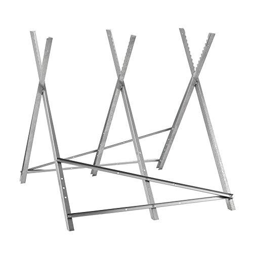 Pro-Tec Sägebock mit 3 Holzhaltern Kettensägebock Zusammenklappbar Sägegestell bis max. 100 kg Holzsägebock mit Querstreben Stahl 81 x 86 x 76 cm