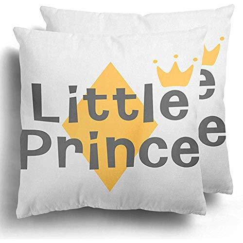 Not Applicable Paquete de 2 Hermosos Hello Little Prince Crown y Star Kids Welcome Baby Interior Lettering Phrase Boy Fundas de Almohada duraderas Premium para Viajes Largos Escapadas Cortas