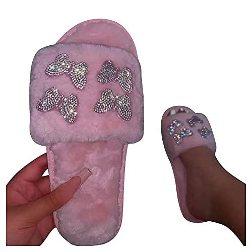 Dasongff Hausschuhe Damen Plüsch Pantoffeln Gemütlich Offener Zeh Flauschige Sandalen Memory Foam Sohle Slide Slipper Schuhe Slippers Haus Kuschelig Hausschuhe Hauspantoffeln für Indoor Outdoor