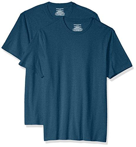Amazon Essentials 2-Pack Slim-Fit Short-Sleeve Crewneck T-Shirt Fashion-t-Shirts, Teal Heather, US M (EU M)