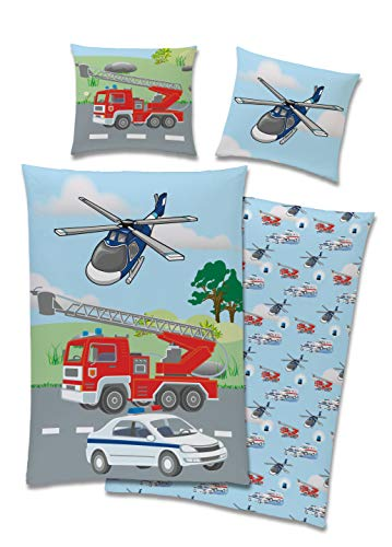TexIdea Polizei Feuerwehr Bettwäsche Set · Wende-Motiv · Bett-bezug 135x200 cm · Kopfkissen-bezug 80x80 cm · 100% Baumwolle