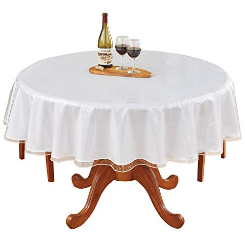 LAMINET Heavy-Duty Deluxe Crystal Clear Vinyl Tablecloth Protector 70 Round
