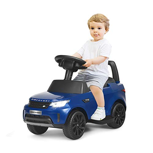 COSTWAY 2 in 1 Land Rover Elektroauto & Rutschauto mit Radiofunktion | Musik | LED Lichter | Soundeffekt | USB | TF | 2,5-3km/h | bis 25KG belastbar | geeignet für Kinder von 18 bis 60 Monaten (Blau)
