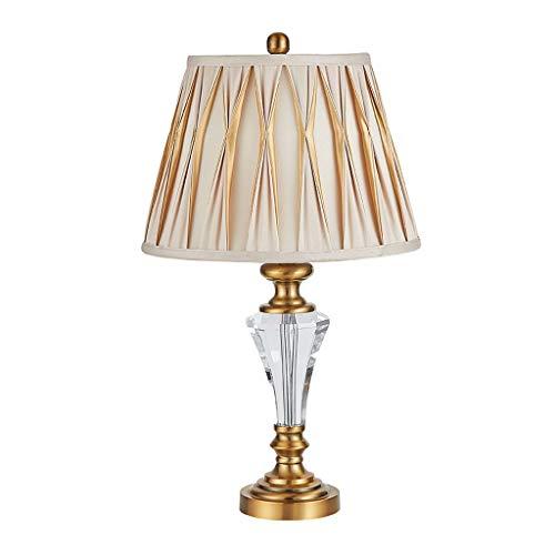 Lámparas Dormitorio, mesa de noche, lámpara de mesa de cristal, lámpara de mesa minimalista moderna, cuerpo de lámpara de cristal, pantalla apilada con flores plisadas, diseño elegante Lámpara de mesa