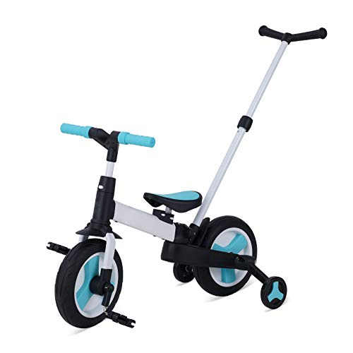 Chinqueeny三輪車 キックバイク 手押し棒付き 折りたたみ 5in1 変身バイク 子供用自転車 バランスバイク 手押し車 ベビーカー ペダル付き 組み立て簡単 コンパクト 超軽量 持ち運びやすい 2歳 3歳 4歳 5歳 6歳 誕生日プレゼント (ブ