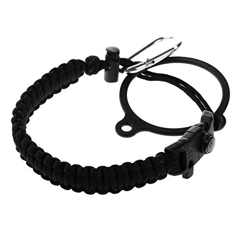 JEATHA Paracord Handle Flask Kettle Paracord Carrier Strap Cord with Safety Ring Buckle Clip Compass and Carabiner for Wide Mouth Water Bottle Black One Size