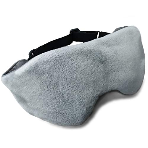BUZIO Weighted Eye Mask for Sleeping, Sleep Mask and Blindfold, Adjustable Strap for Women and Men, Removable Hot/Cool Pack to Relief Stress, Block Out Light, Double Sided Soft Comfort for Sleeping