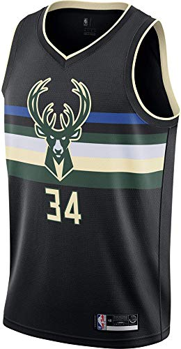 Outerstuff Giannis Antetokounmpo Milwaukee Bucks #34 Black Youth 8-20 Statement Edition Swingman Jersey (10-12)