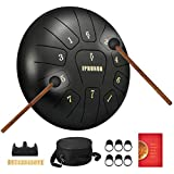 Steel Tongue Drum 11 Notes 10 Inch Dia Percussion - Tank Drum Handpan Drum Instruments with Mallets,Travel Bag for Musical Education Concert Mind Healing Yoga Meditation