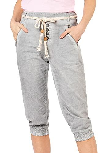 Sublevel Damen Baumwoll Capri Stoff-Hose mit Bindegürtel Light-Grey M