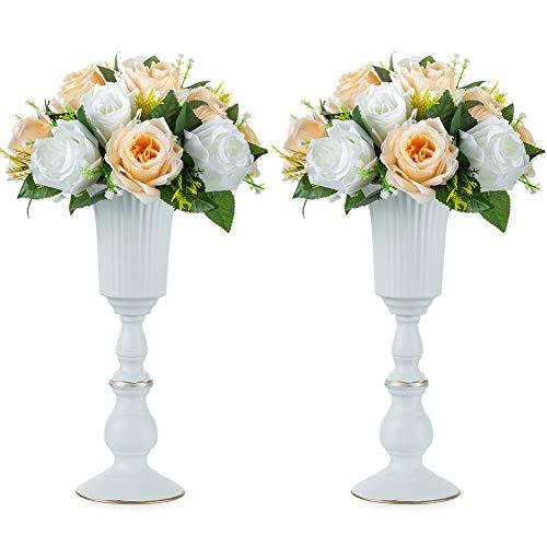 Nuptio 2 Stück Metall Blumenvase Weiß Tischdekoration Herzstück, Elegante Hochzeit Mittelstücke Vase für Party Jubiläumsfeier Dekoration, 31.9cm Hoch Künstliche Blumenarrangements