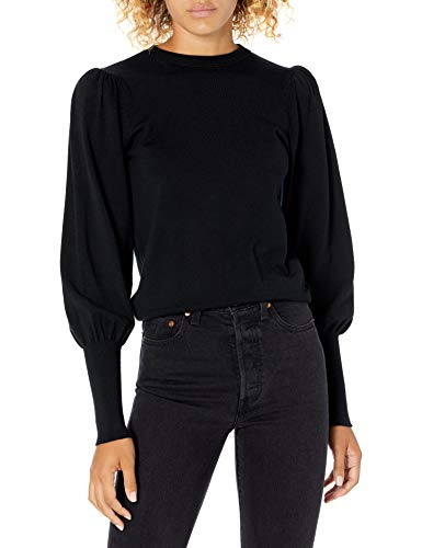 The Drop Women's Vivienne Padded Shoulder Balloon-Sleeve Crew-Neck Sweater