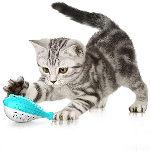 SOOJET Gatto Spazzolino da Denti, Giocattolo da Masticare per Gatti Pesce Giocattolo con Erba Gatta Interattivo la Pulizia dei Denti Catnip Plush Toy per Gattini (Blu)