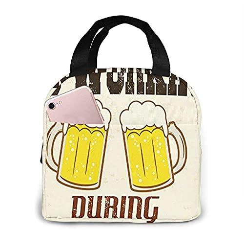 Bolsa de almuerzo con aislamiento de cerveza de trabajo para mujeres y hombres, bolsa de almuerzo reutilizable con bolsa de almuerzo organizador con bolsillo frontal