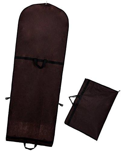 TUKA-i-AKUT Atmungsaktiver Kleidersack 180cm x 64cm, Faltbare Schutzhülle für Brautkleider/Abendkleider/Anzüge/Mäntel, Langzeitaufbewahrung & Transportieren, Braun TKB1001