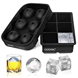 NON-STICK & EASY RELEASE - Made of durable silicone, our ice cube trays can be easily twisted or pushed from the bottom to remove ice cubes and balls for an easy release.Perfect gifts for Christmas. ICE BALL MAKER - Upgraded 6 spherical ice balls (1....