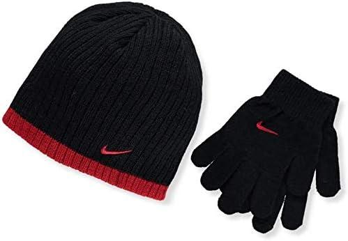 Nike Boy`s Rib Knit Hat and Glove 2 Piece Set
