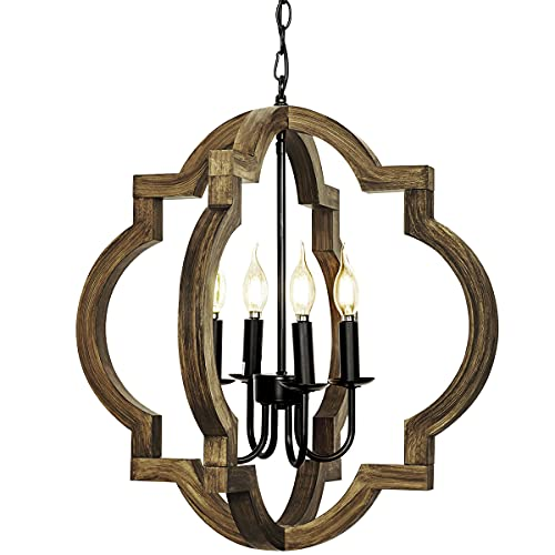 Farmhouse orb Chandelier, 4-Light Adjustable Height Handmade Rustic Wood Light Fixture for Foyer, Dining&Living Room, Kitchen Island, Entryway, Breakfast Area(Colour: Black)