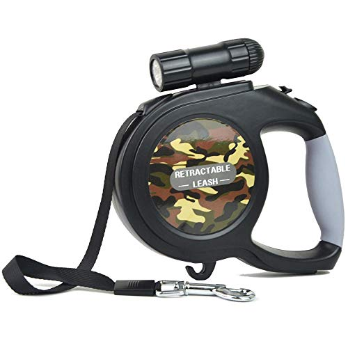 Alihoo Hundeleine, 8m Einziehbare Hundeleine, Walking Trainingsleine mit Abnehmbarer Taschenlampe für kleine mittelgroße Hunde bis max 40kg (8M Tarnung)