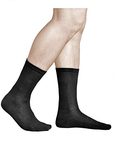 vitsocks Herren Socken Baumwolle mit Silber (3x Pack) Atmungsaktiv gegen Fußgeruch, 44-46, schwarz