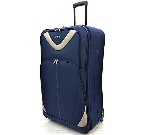 """32"""" Extra Large Super Lightweight Expandable Durable Hold Luggage Suitcase Trolley Case Travel Bag with 2 Wheels (32' Extra Large, Navy/Silver)"""