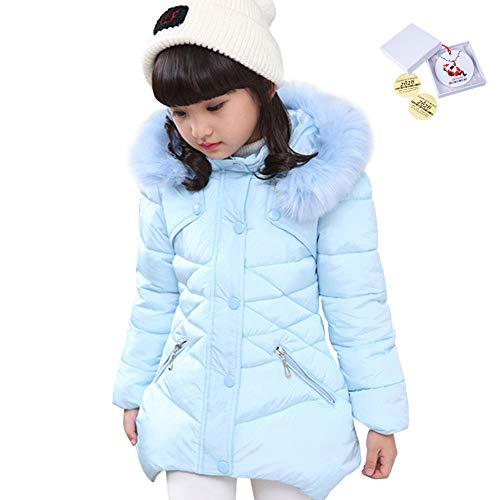 LSERVER Mädchen Dicke warme Daunenjacke Kinder Mode Winterjacke, Blau, 104/110(Fabrikgröße: 110)