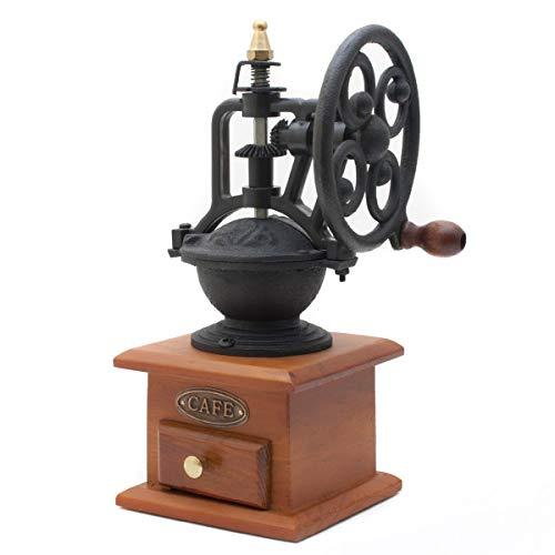 GOODS+GADGETS Bezaubernde Retro Kaffeemühle mit Schwungrad im Antik Design aus Holz & Messing gefertigt Espressomühle für Kaffee Bohnen