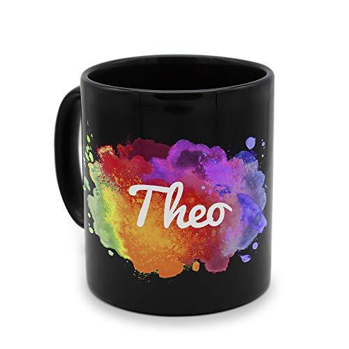 printplanet - Tasse Schwarz mit Namen Theo - Motiv: Color Paint - Namenstasse, Kaffeebecher, Mug, Becher, Kaffeetasse