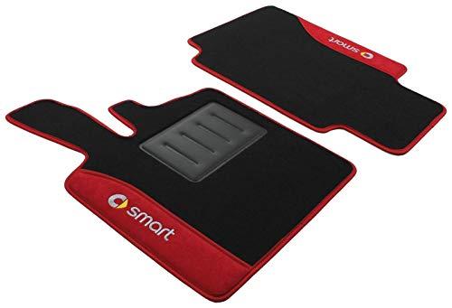 Bestickte Fußmatten für Smart ForTwo W450, Baujahre 1998-2007, von Il Tappeto Auto, Modell Color Line ND rot