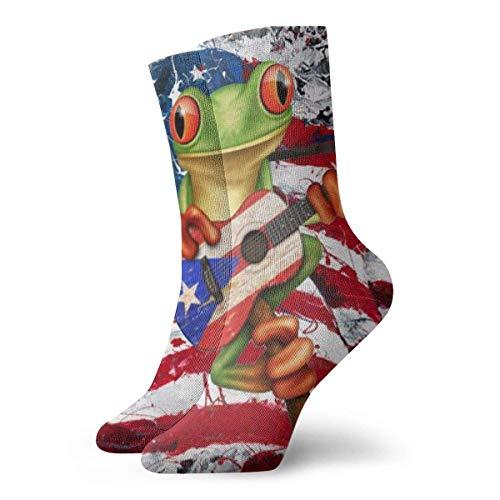 Calcetines de guitarra con diseño de rana jugando a la bandera de Puerto Rico para hombre y mujer, yoga, senderismo, ciclismo, correr, fútbol, deportes (11,8 pulgadas/30 cm)
