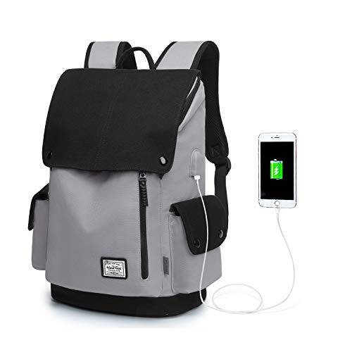 WindTook Laptop Backpack for Women and Men Travel Computer Bag School College Daypack Work Pack with USB Charging Port Suits 15 Inch Notebook Medium Gray