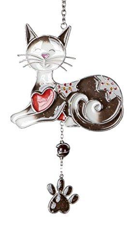 dekojohnson raamhanger Tiffany raamdecoratie decoratieve hanger kat donkerbruin 25x15 cm incl. cadeaukaart