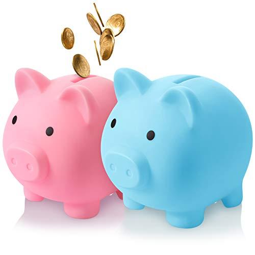 2 Pieces Cute Piggy Bank Cute Plastic Pig Money Bank Adults Unbreakable Piggy Bank Pig Money Box Coin Bank Plastic Saving Coin Box for Boys Girls Kids