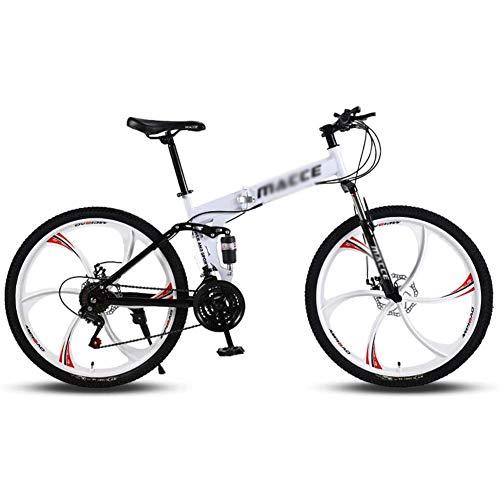 Bicicletas de montaña para adultos, 26 en bicicleta de montaña Trail bicicletas plegables con marco de suspensión de acero de alto carbono, bicicleta de doble freno de 21 velocidades bicicleta,Blanco