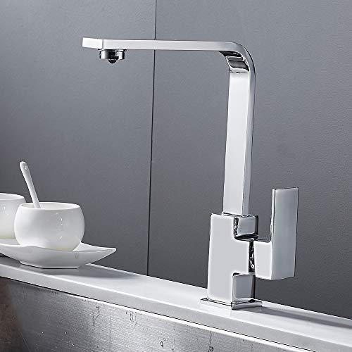Littlegrasseu Grifo de cocina cuadrado con caño alto, grifo mezclador para lavabo, grifo para cocina, lavabo de latón (cromado)