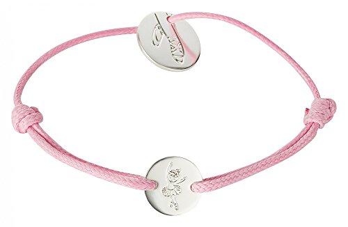 tanzmuster Ballett Armband mit silber plattiertem Anhänger mit Ballettschuh Gravur- rosa Textilarmband - perfekt als Geschenk für Tänzerinnen