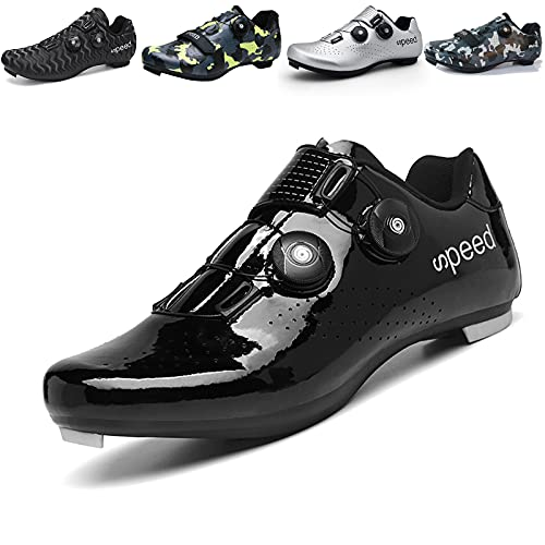 Mens Cycling Shoes Road Bike Shoe with SPD Road Riding Rotating Shoe Peloton Shoes with Buckle Delta Compatible for Indoor Riding Racing Black UK 8.5