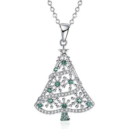 NYKKOLA Fashion Sieraden Mooie Groene Zirkonia Kerstboom Hanger Platina Ketting Keten Kerstmis Gift